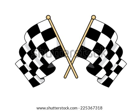Crossed black and white flags used in motor sport to signal finishing successful competitors waving in the wind with furled fabric - stock photo