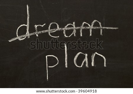 Crossed dream word and plan word chalk drawing over blackboard