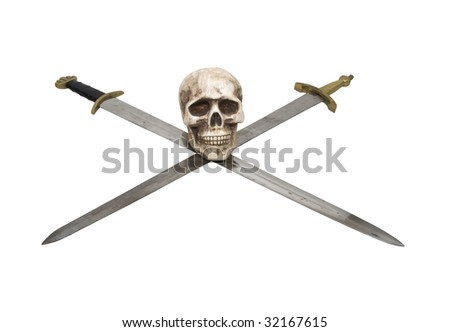 Crossed Swords with sturdy hilts and a skull are a sign of power and respect - path included