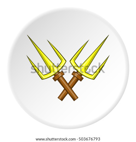 Crossed tridents icon in cartoon style isolated on white circle background. Weapon symbol  illustration