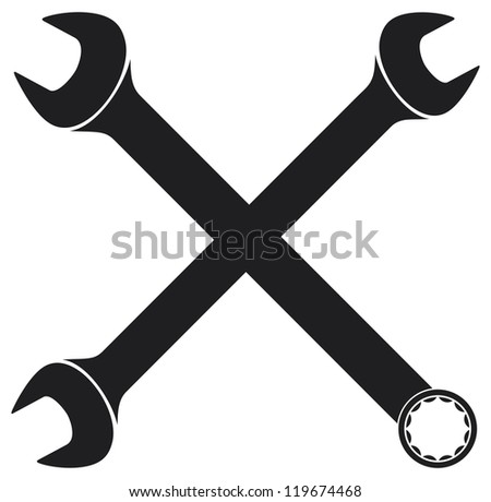crossed wrenches (hand wrench tool or spanner, crossed wrenches silhouette) - stock photo