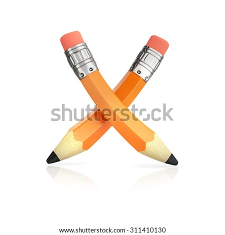 crossed yellow small pencil icon, isolated on white background - stock photo