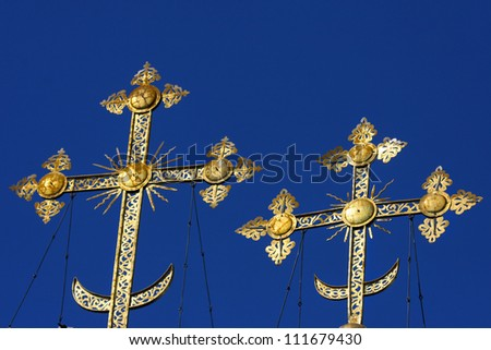 Crosses on the blue skies - stock photo
