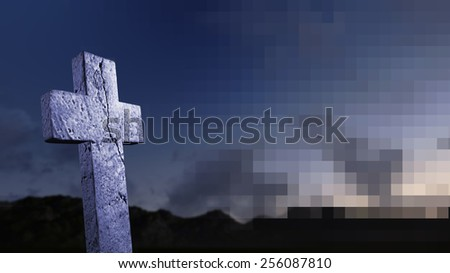 crosses  silhouette with the sky as background - stock photo