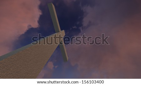 crosses  silhouette with the sunset as background - stock photo
