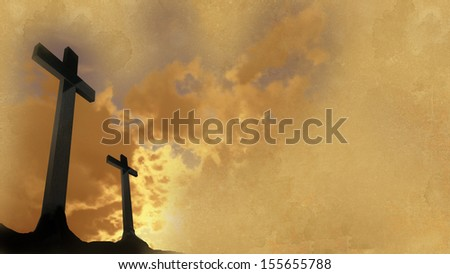 crosses  silhouette with theold paper  as background - stock photo