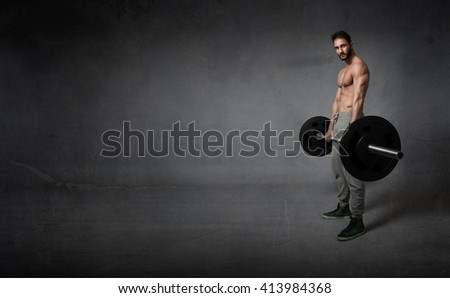 crossfit exercises with weights, empty space - stock photo