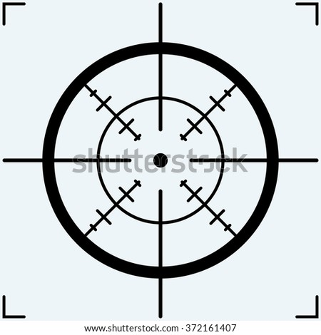 Crosshair, icon. Isolated on blue background. Raster version