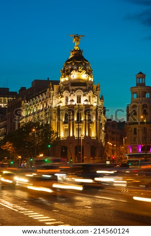 Crossing Alcala and Gran Via street in Madrid at a summer night - stock photo