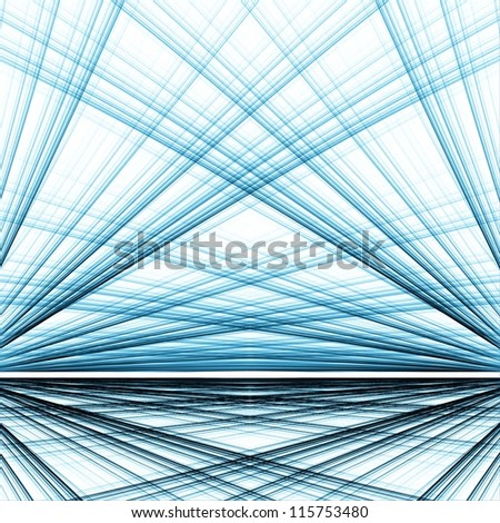 Crossing blue lines. Abstract perspective view. - stock photo