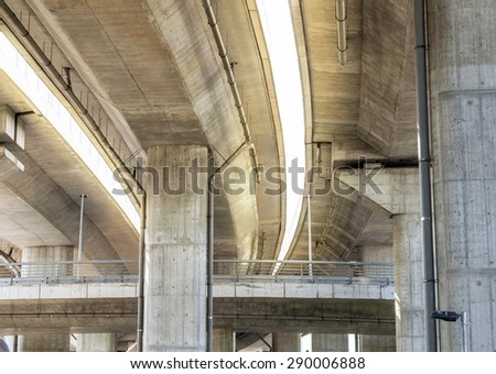 Crossing highway bridge - stock photo
