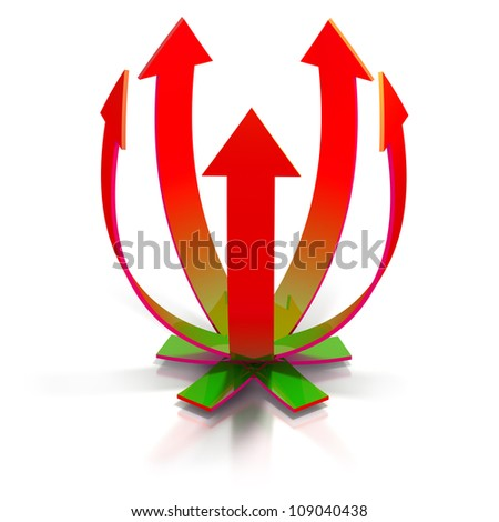 Crossing rising arrows isolated on white - stock photo