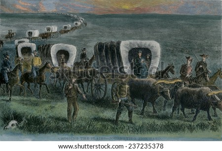 Crossing the Plains-Journey Zionward The first of thousands of Mormon pioneers took 1300-mile-long 'Mormon Trail' from Nauvoo. - stock photo