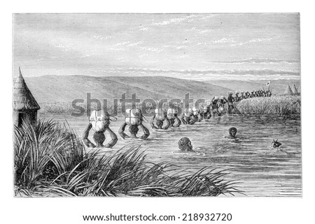 Crossing the River in Couchibi, engraving based on the English edition, vintage illustration. Le Tour du Monde, Travel Journal, 1881 - stock photo