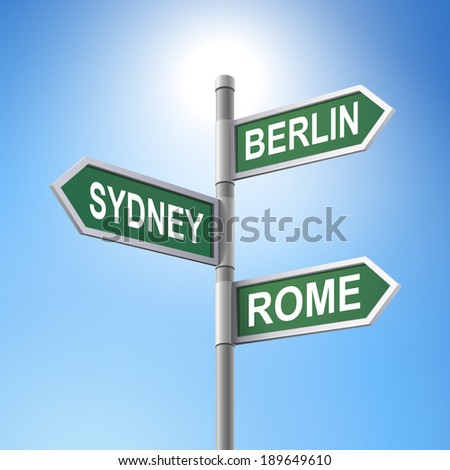 crossroad 3d road sign saying Berlin and Rome and Sydney - stock photo