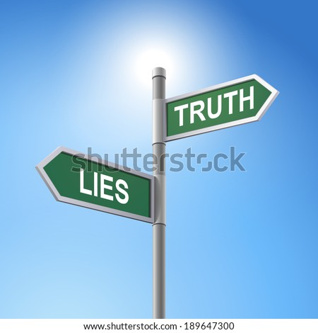crossroad 3d road sign saying lies and truth - stock photo