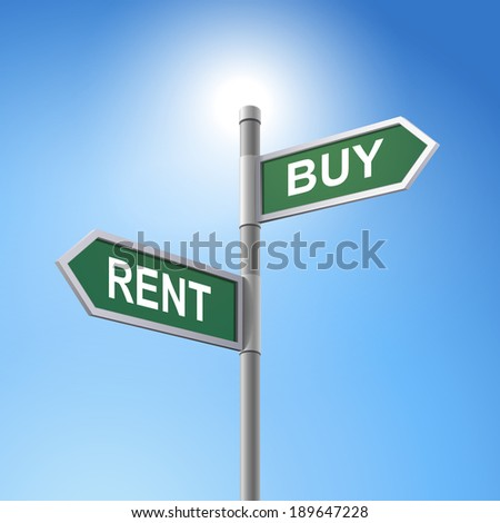 crossroad 3d road sign saying rent and buy - stock photo