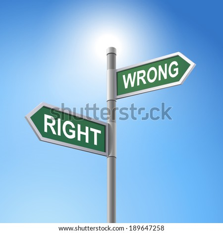 crossroad 3d road sign saying right and wrong