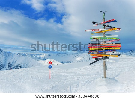 Crossroad sign in the Alps pointing to international cities, Ischgl, Austria.