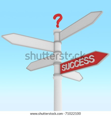 crossroad sign with one way success direction - stock photo