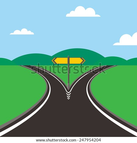 crossroad with direction sign  - stock photo