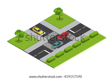 Crossroads and road markings isometric illustration for infographics. Transport car, urban and asphalt, traffic. Crossing Roads.