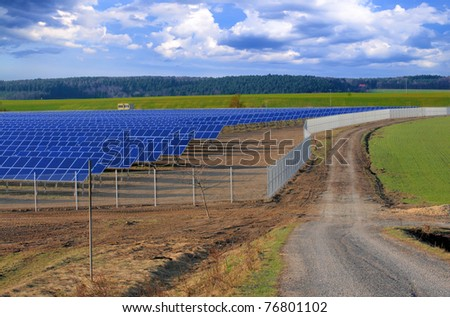 Crossroads at the solar power plant under construction. Thuringia, Germany