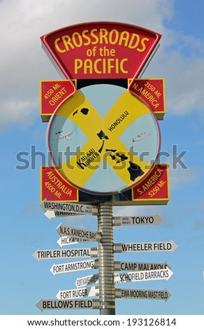 Crossroads of the Pacific Sign at Pearl Harbor, Oahu, Hawaii - stock photo