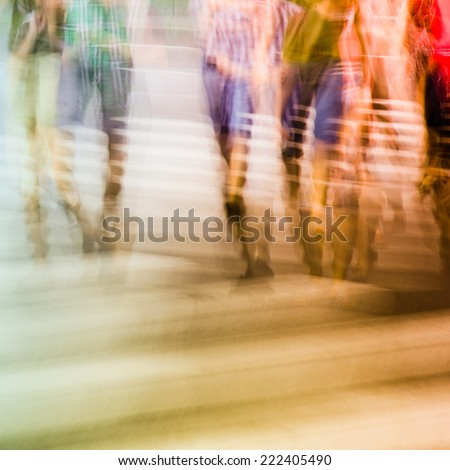crosswalk and pedestrian - stock photo