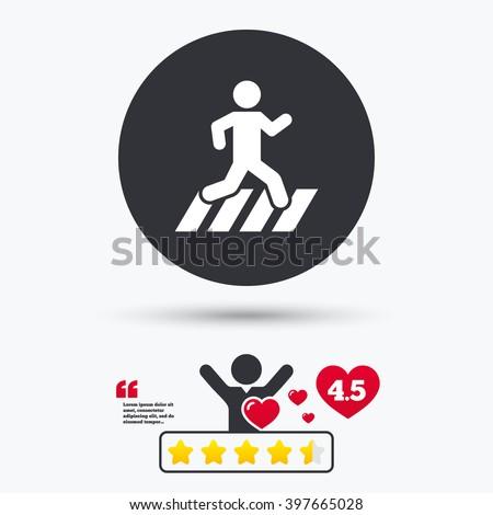 Crosswalk icon. Crosswalk flat symbol. Crosswalk art illustration. Crosswalk flat sign. Crosswalk graphic icon. Star vote ranking. Client or customer like. Quotes with message. - stock photo