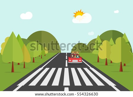 Illustration of car stopped at pedestrian crossing - Road Way City Buildings On Horizon Stock Vector 589599449