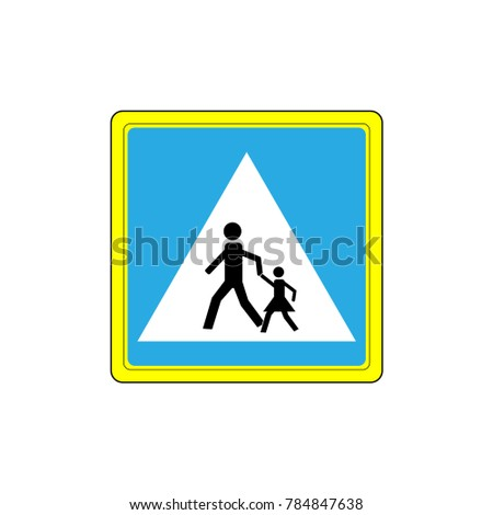Crosswalk sign black in white triangle. Icon a pedestrian place for child near school. Symbol safety traffic human on road. Label for banner about crossing way. Design element. illustration