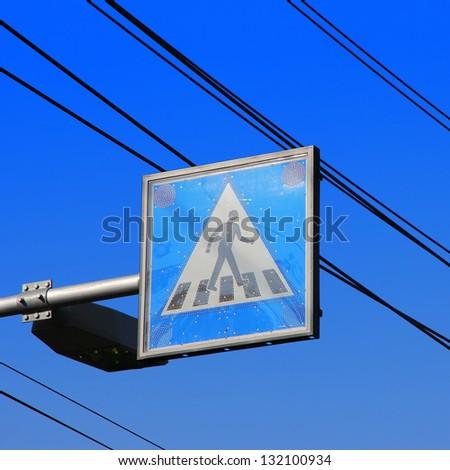 Crosswalk traffic street. - stock photo