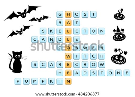 crossword for the word halloween and related words with drawings of bat black cat - Words About Halloween