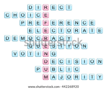 Crossword for the word Referendum and related words (Direct, Choice, Preference, Electorate, Democracy, Question, Voting, Decision, Public, Majority), illustration - stock photo
