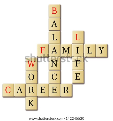 Crossword of balancing work and life concept