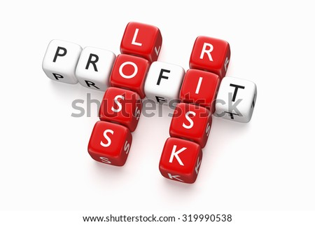 Crossword Profit Loss. Digitally generated. Render - stock photo