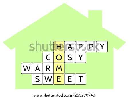 Crossword puzzle for the word Home and words Happy, Cosy, Warm, Sweet, illustration for the Home concept - stock photo