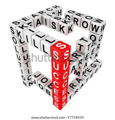 Crossword puzzle illustration in the threedimensional form - stock photo