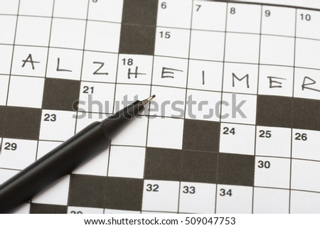 Crossword Puzzle With One Word The Is Alzheimer Black Pen On
