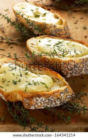 Crostini with mozzarella and fresh thyme - stock photo