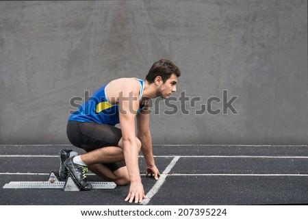 Crouch start - stock photo