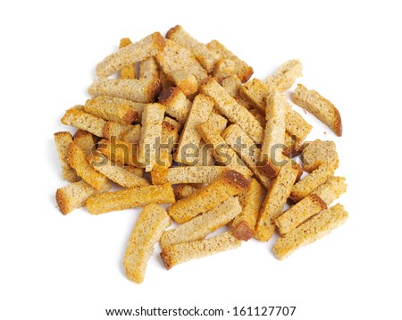 Croutons of bread isolated on white background