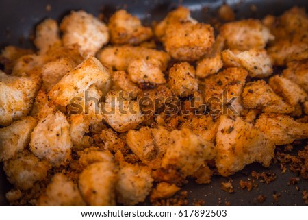Croutons with garlic and spices