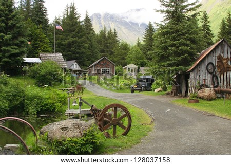 Crow Creek mining camp. Girdwood, Alaska, on Alaska's Kenai Peninsula. The location is about 50 miles from Anchorage and in the same town with the Aleyska ski resort. - stock photo