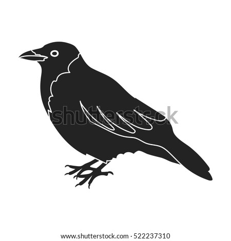Crow icon in black style isolated on white background. Bird symbol stock bitmap illustration.