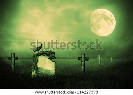 Crow sitting on a gravestone in moonlight