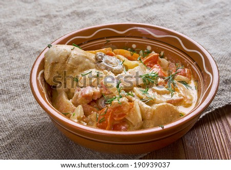 Crow stew is a stew made primarily from the meat of a crow,onion, bacon fat, flour and sour cream