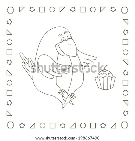Crow Cupcake Coloring Page Coloring Book Stock Illustration ...