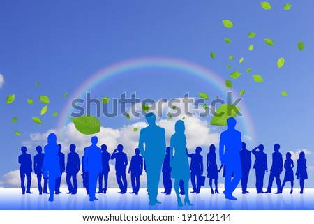 Crowd and the young leaves and rainbow